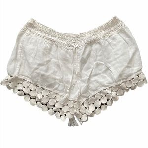 aerie White Tassel Soft Shorts